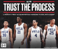 It's all happening…: TRUST THE PROCESS  JJ REDICK'S TWEET AFTER REPORTEDLY AGREEING TO DEAL WITH SIXERS  PHILR  PHIL  4  PHILRPHILR  PHILA2  30  25  B-R  B R  VIA ADRIAN WOJNAROWSKI It's all happening…