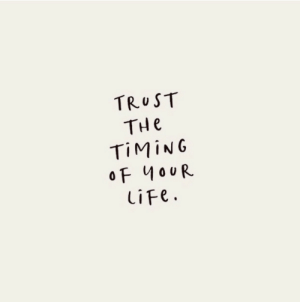 Timing: TRUST  THe  TIMING  oF 40UR  liFe