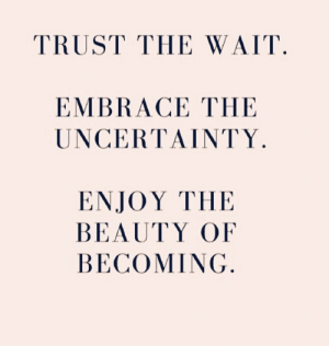 Trust, Beauty, and Wait: TRUST THE WAIT  EMBRACE THE  UNCERΤΑΙΝTΥ.  ΕNJOY ΤHE  BEAUTY OF  BECOMING