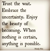 Memes, 🤖, and Perspective: Trust the wait.  Embrace the  uncertainty. Enjoy  the beauty of  becoming  When  nothing is certain  anything is possible.  Mandy Hale 😊🙏 perspective trusttheprocess awakespiritual