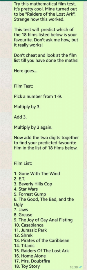 "Try this mathematical film test. Its pretty cool.: Try this mathematical film test.  It's pretty cool. Mine turned out  to be ""Raiders of the Lost Ark"".  Strange how this worked.  This test will predict which of  the 18 films listed below is your  favourite. Don't ask me how, but  it really works!  Don't cheat and look at the film  list till you have done the maths!  Here goes...  Film Test:  Pick a number from 1-9.  Multiply by 3.  Add 3.  Multiply by 3 again.  Now add the two digits together  to find your predicted favourite  film in the list of 18 films below.  Film List:  1. Gone With The Wind  2. E.T  3. Beverly Hills Cop  4. Star Wars  5. Forrest Gump  6. The Good, The Bad, and the  Ugly  7. Jaws  8. Grease  9. The Joy of Gay Anal Fisting  10. Casablanca  11. Jurassic Park  12. Shrek  13. Pirates of the Caribbean  14. Titanic  15. Raiders Of The Lost Ark  16. Home Alone  17. Mrs. Doubtfire  18. Toy Story  18.38 Try this mathematical film test. Its pretty cool."