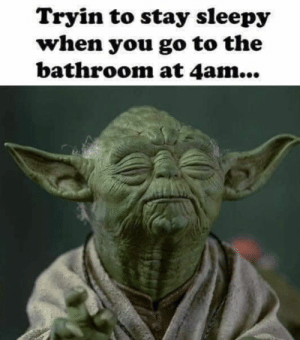 : Tryin to stay sleepy  when you go to the  bathroom at 4am...