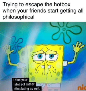 """Friends, Hotbox, and Deep: Trying to escape the hotbox  when your friends start getting all  philosophical  I find your  intellect rather  stimulating as well.  nic """"That's so deep bro!"""""""