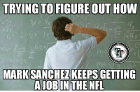 Memes, Mark Sanchez, and 🤖: TRYING TO FIGURE OUT HOW  If  mc  MA  KEEPS GETTING  2.  MARK SANCHEZ #KillerWattage