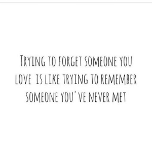 Love, Never, and Net: TRYING TO FORGET SOMEONE YOU  LOVE IS LIKE TRYING TO REMEMBER  SOMEONE YOU VE NEVER MET https://iglovequotes.net/