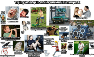 Trying to sleep in on the weekend starter pack: Trying to sleep in on the weekend starter pack