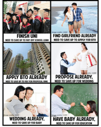 Memes, School, and Forever: ts: 123RF  Image credits: 123RF  FIND GIRLFRIEND ALREADY  NEED TO SAVE UP TO PAY OFF SCHOOL LOANNEED TO SAVE UP TO APPLY FOR BTO  FINISH UN  e credits: 123RF  APPLY BTO ALREADY PROPOSE ALREADY  NEED TO SAVE UP TO PAY FOR PROPOSAL RINGNEED TO SAVE UP FOR WEDDING  mage  credits: 123RF  Image credits:123RF  WEDDING ALREADY, HAVE BABY ALREADY  NEED TO SAVE UP FOR BABY  NEED TO SAVE UP FOR EDUCATION Singaporeans... forever saving up for something or planning ahead for the long term 😂😂😂