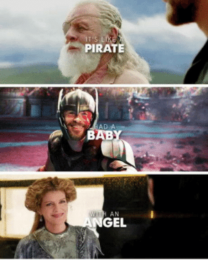 Omg, Tumblr, and Blog: T'S  PIRATE  AD A  BAB  WITH AN  GEL omg-humor:PirateAngel