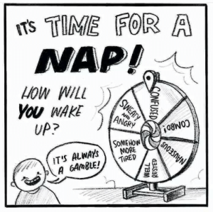 Combo: Ts TIME FOR A  NAP!  HOW WILL  You WAKE  UP?  AND  ANGRY  COMBO!  SOMEHOW  MORE  TIRED  IT'S ALWAYS  A GAMBLE!  NAUSEOUS  SWEATY  CONFUSED  WELL  RESTED