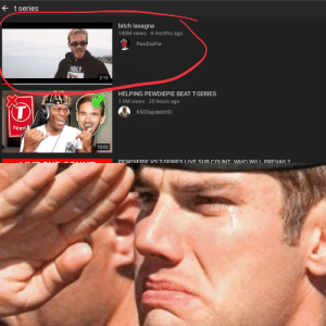 Bitch, Lasagna, and Wii: tseries  bitch lasagna  140M views 4 months ago  PewDiePie  HOLY  2:15  HELPING PEWDIEPIE BEAT T-SERIES  1.9M views 20 hours ago  KSIOlajidebtHD  SERI  10:02  WDIFPIF VS T-SFRIFS I IVF SIIR COLINTWHO WII I PRFVAII2 looks like the algorithm is on our side for once