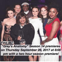 """Fact 887😱 🚨 BREAKING NEWS 🚨 """"Grey's Anatomy"""" Season 14 premieres on Thursday September 28, 2017 at 8:00 pm with a two hour season premiere! — 💉 TAG A FRIEND! 💉 — factsforgreys_show greys greysanatomy season14 seasonpremiere season14premiere greysanatomyseason14 twohourseasonpremiere shondaland abc ga tgit like facts likeforlike like4like dancemoms: TSFORGREYS  Fact 887  """"Grey's Anatomy"""" Season 14 premieres  on Thursday September 28, 2017 at 8:00  pm with a two hour season premiere! Fact 887😱 🚨 BREAKING NEWS 🚨 """"Grey's Anatomy"""" Season 14 premieres on Thursday September 28, 2017 at 8:00 pm with a two hour season premiere! — 💉 TAG A FRIEND! 💉 — factsforgreys_show greys greysanatomy season14 seasonpremiere season14premiere greysanatomyseason14 twohourseasonpremiere shondaland abc ga tgit like facts likeforlike like4like dancemoms"""