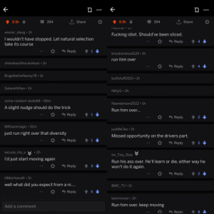 Ass, Do It Again, and Fucking: TShare  TShare  8.9k  8.9k  394  394  wiener_dawg 1h  Fucking idiot. Should've been sliced.  I wouldn't have stopped. Let natural selection  take its course  4  Reply  t 1  Reply  knockonwood124 1h  run him over  sharebearthecarebear 1h  t 4  Reply  BrigettetheNanny78 1h  buttstuff2015 1h  SalamiKitten 1h  NittyS 2h  some-random-dude84 59m  Naanderson2022 1h  A slight nudge should do the trick  Run him over...  1  Reply  t 2  Reply  Milfsaremagic 51m  justMe Tee 1h  just run right over that diversity  Missed opportunity on the drivers part.  t 1  Reply  t2  Reply  2h  excuse_me_w  Im_Tiny_Rick  I'd just start moving again  Run his ass over. He'll learn or die, either way he  won't do it again.  Reply  3  t 2  Reply  lilMachiavelli 1h  well what did you expect from a ni....  BMC_TV 1h  Reply  bammoran 2h  Run him over. keep moving  Add a comment  8  Replv On a post of a clearly mentally ill man in front of a tram