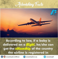 OMG 😯😳😯 This Is AWESOME 😍👌 rvcjinsta: tstonishing tacts  ASTONISHING FACTS  According to law, if a baby is  delivered on a  tight, he/she can  get the citizenship of the country  the airline is registered in  Astonishing Factsofficial  Astonis  Fact com  Astonishing Ft OMG 😯😳😯 This Is AWESOME 😍👌 rvcjinsta