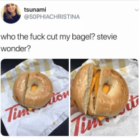 Memes, Stevie Wonder, and Good Morning: tsunami  @SOPHIACHRISTINA  who the fuck cut my bagel? stevie  wonder?  iA Lmfao😂 good morning 🌞 • Follow @savagememesss for more posts daily