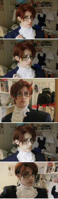 roderich-edelfine:  poisondknight:   beamanjinxflinger said: Can you do aph Austria?  I really could not take this seriously. I am so sorry. Oh my god.(I used my Romano wig for this and it's too red and stuff also I derped and could not take good selfies.)I am obviously taking this very seriously.  Send me a character and I'll do my best to cosplay them with what I have on hand!  you nailed his expressions lol: tT THE FuCK roderich-edelfine:  poisondknight:   beamanjinxflinger said: Can you do aph Austria?  I really could not take this seriously. I am so sorry. Oh my god.(I used my Romano wig for this and it's too red and stuff also I derped and could not take good selfies.)I am obviously taking this very seriously.  Send me a character and I'll do my best to cosplay them with what I have on hand!  you nailed his expressions lol