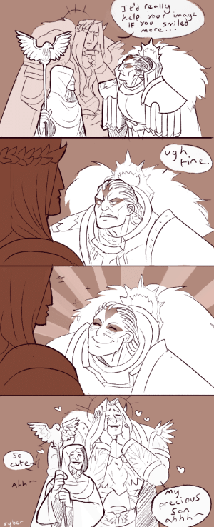 Emoji, Head, and Meme: Tt'd really  hele  image  Your  Smiled  more ..  iF You  Fine  Sc  cutedh  Ahh  my  precious  Son  ah h h syberfab:  So anon asked for D1 for this drawing meme and I couldn't get this out of my head so here is yet more wh30k comic nonsense (I continue to add to Angron's suffering) bonus: