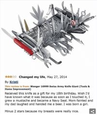 Beer, Memes, and Giant: ttnAr tr Changed my life, May 27, 2014  By Kristi  This review is from  Wenger 16999 Swiss Army Knife Giant (Tools &  Home Improvement)  Received this knife as a gift for my 18th birthday. Wish I'd  have known what it was because as soon as I touched it, I  grew a mustache and became a Navy Seal. Mom fainted and  my dad laughed and handed me a beer. I was born a girl.  Minus 2 stars because my breasts were really nice. love it when people forget i exist :-) —sara