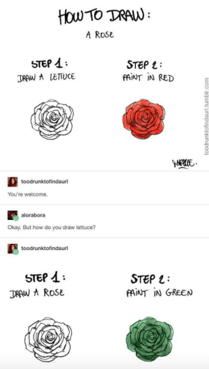 How Do You: ttou Tο TAN:  A RoSE  STEP  STEP L  FAINT IN RED  DRAW A LETTUCE  toodrunktofindaurl  You're welcome.  alorabora  Okay. But how do you draw lettuce?  toodrunktofindaurl  STEP  STEP  FAINT IN GREEN  DRAW A ROSE  toodrunktofindaurl.tumblr.com