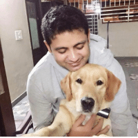 Memes, Selfie, and Indian: TTTTTTTR iTin- Recent click of Indian leggie Piyush Chawla with his pet dog.  Pic looks like his dog is clicking a selfie with him :P