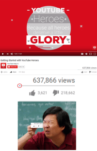 What is this? A feedback bar for ants?!  For more info:http://knowyourmeme.com/memes/events/youtube-heroes-controversy Credit: Zegorykz | Know Your Meme: TU  Heroes  Because all heroes  deserve a little  GLORY  4) 121/129  Getting Started with YouTube Heroes  YouTube Help  Subscribe 3085138  Share More  637,866 views  l 3.621  218.662  637,866 views What is this? A feedback bar for ants?!  For more info:http://knowyourmeme.com/memes/events/youtube-heroes-controversy Credit: Zegorykz | Know Your Meme