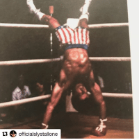 """Clubber Lang, Sports, and Blood: tu officialslystallone A day in the """"Rocky III"""" life (via @officialslystallone): """"Just for fun… A flashback from Rocky three. Between rounds I would get lightheaded and quite exhausted. I was on a very high protein diet which did not provide Much physical or mental energy. During the period I only ate very small portions of oatmeal cookies made with brown rice and up to 25 cups of coffee a day with honey and a couple of scoops of tuna fish. Sounds incredible right? At the time my body fat got down to 2.9 which is a really dangerous level. I may have looked pretty good on the outside but inside it was very dangerous thing to do. But I wanted the movie to be about change. How people have to adapt to different challenges because if they don't they will be conquered. I will always believe the adaptation is the key to survival and that's what this story was all about ... and while, getting smashed by Superstrong,CLUBBER LANG continuously four months of rehearsal plus the fight, tended to wear a person out so I would literally go to the corner between rounds, when I wasn't directing and try to get some blood back into my head so I could carry-on with the complicated fight choreography … It's funny, I never knew this picture existed!"""""""