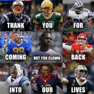 FOOTBALL IS BACK ❤️ https://t.co/DySb19BueL: TU  PATRIOTS  THANK  FOR  YOU  @NFL MEMES  RAIDERS  COMING  BACK  NOT YOU CLOWN  INTO  OUR  LIVES FOOTBALL IS BACK ❤️ https://t.co/DySb19BueL