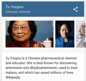 Birthday, Wikipedia, and Happy Birthday: Tu Youyou  Chinese chemist  Tu Youyou is a Chinese pharmaceutical chemist  and educator. She is best known for discovering  artemisinin and dihydroartemisinin, used to treat  malaria, and which has saved millions of lives.  Wikipedia Must be a nightmare to sing happy birthday to her