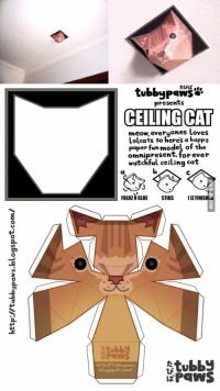 ceiling cat is watching you: tubby Paws  presents  CEILING CAT  meow, everyones loves  Lolcats so here's a happy  paper fun model of the  omnipresent, forever  watchful ceiling cat  FOLDZENGLUE  STIKS  IIZFINISHE  -tubby  -tubby  http:Itubb  Paws  blogspot.com/  PaWS