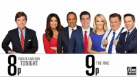 """MONDAY: Fox News Channel has a brand-new primetime lineup debuting on Monday, as Tucker Carlson Tonight moves to 8:00pm ET and The Five shifts to the 9:00pm ET timeslot. Tucker promised to continue bringing viewers """"the most honest hour we can do"""" and to remain """"the sworn enemy of lying, pomposity, smugness and groupthink."""" Kimberly Guilfoyle, Dana Perino, Bob Beckel, Greg Gutfeld, Jesse Watters and Juan Williams will co-host """"The Five"""" at its new time.: TUCKER CARLSON  TONIGHT  O p  THE FIVE  FOX  NEWS MONDAY: Fox News Channel has a brand-new primetime lineup debuting on Monday, as Tucker Carlson Tonight moves to 8:00pm ET and The Five shifts to the 9:00pm ET timeslot. Tucker promised to continue bringing viewers """"the most honest hour we can do"""" and to remain """"the sworn enemy of lying, pomposity, smugness and groupthink."""" Kimberly Guilfoyle, Dana Perino, Bob Beckel, Greg Gutfeld, Jesse Watters and Juan Williams will co-host """"The Five"""" at its new time."""
