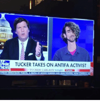 Let's just be thankful Tucker made it out of there! 😂: TUCKER TAKES ON ANTIFA ACTIVIST  TUCKER CARLSON tonight Tose Let's just be thankful Tucker made it out of there! 😂