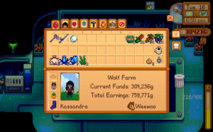 Wolf, Pearl, and Total: Tue. 16  E:50 pm  304236  2  3  6  B  419  Wolf Farm  Current Funds: 304,236g  Total Earnings: 759,771g  218/406  Weewoo  Kassandra  ************** Holy s*** I caught a pearl on the submarine tour! Only a %0.4 chance of that happening!