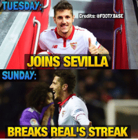 Memes, La Liga, and 🤖: TUESDAy  Credits: a FOOTYBASE  JOINS SEVILLA  SUNDAY  BREAKS REALIS STREAK A good La Liga debut for Jovétic 😎 Who will win La Liga? 👇 Double Tap and follow me @footy.base for more! 🔥