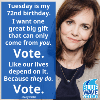 Happy Birthday, Sally!: Tuesday is my  72nd birthday.  I want one  great big gift  that can only  come from you.  Vote.  Like our lives  depend on it.  Because they do.  Vote.  BLUE  WAVE  VOTERS  -Sally Field Happy Birthday, Sally!