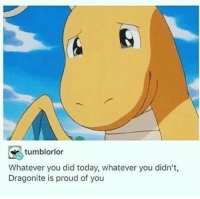 Today, Proud, and Did: tumblorlor  )  Whatever you did today, whatever you didn't,  Dragonite is proud of you
