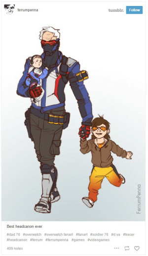 Overwatch Fans Have Turned Soldier 76 Into A Dad | Kotaku UK: tumblr. Follow  ferrumpenna  Best headcanon ever.  #dad 76 #0verwatch #overwatch fanart #fanart#soldier 76 #d.va #tracen  #headcanon #ferrum #ferrumpenna #games #videogames  409 notes  FerrumPenna Overwatch Fans Have Turned Soldier 76 Into A Dad | Kotaku UK