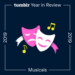 fandom:  2019's Top Musicals  Be More Chill was robbed.Hadestown  Hamilton: An American Musical −1  Be More Chill −1  Six  The Guy Who Didn't Like Musicals  Les Misérables +2  Phantom of the Opera   Newsies −4  Dear Evan Hansen −6  Beetlejuice  Falsettos −5  Cats  Wicked −8  The Prom  A Very Potter MusicalThe number in italics indicates how many spots a title moved up or down from the previous year. Bolded titles weren't on the list last year.: tumblr Year in Review  Musicals  2019  2019 fandom:  2019's Top Musicals  Be More Chill was robbed.Hadestown  Hamilton: An American Musical −1  Be More Chill −1  Six  The Guy Who Didn't Like Musicals  Les Misérables +2  Phantom of the Opera   Newsies −4  Dear Evan Hansen −6  Beetlejuice  Falsettos −5  Cats  Wicked −8  The Prom  A Very Potter MusicalThe number in italics indicates how many spots a title moved up or down from the previous year. Bolded titles weren't on the list last year.