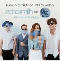 "Echosmith, Jimmy Fallon, and Target: Tune in to NBC on 7/13 to watch  HE  on NHT  JIMMY  #EchosmithOnFallon , FALLON <p><a href=""http://echosmith.tumblr.com/post/123389278588/excited-to-hang-out-with-our-friend-jimmy-fallon"" class=""tumblr_blog"" target=""_blank"">echosmith</a>:</p>  <blockquote><p>Excited to hang out with our friend Jimmy Fallon again! We'll be performing on The Tonight Show Starring Jimmy Fallon July 13th. Be sure to Tune in or set your DVRs!<br/></p></blockquote>  <h2>We're excited to have Echosmith back in Studio 6B tonight! </h2>"