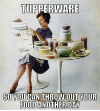 Food, Memes, and Tupperware: TUPPERWARE  SO YOU CAN THROW OUT YOUR  FOOD ANOTHER DAY