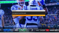 Sports, Xbox, and Jets: TURBIN  ttention  Your opponent has left the match  (a NOTSports Center  Exit Game  33  ROBERT TURBIN  5-YARD TO RUN  IND 40  NYU 3 4TH 14:54 25 MONDAY NIGHT BREAKING: MNF ends early in the 4th quarter after the Jets pull the plug on their XBox