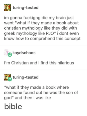 "God, Bible, and Book: turing-tested  im gonna fuckigng die my brain just  went ""what if they made a book about  christian mythology like they did with  greek mythology like PJO"" i dont even  know how to comprehend this concept  kaydschaos  I'm Christian and I find this hilarious  turing-tested  ""what if they made a book where  someone found out he was the son of  god"" and then i was like  bible Bible"