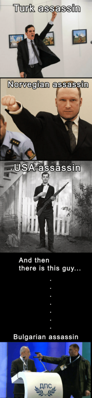Turk, Usa, and Assassin: Turk assassin  Norvegian  assassi  USA assassin  And thern  there is this guy...  Bulgarian assassin Different kinds of assassins