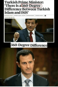 Isis, Islam, and Degree: Turkish Prime Minister  There Is a 360-Degree  Difference Between Turkish  Islam and ISIS'  360-Degree Differenc