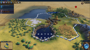 [Civilization VI] If you found a city between an ocean and the natural wonder Crater Lake, the city canal will flood the lake and submerge its island.: TURN 3/500  3920 BC  O 10+5.2  +3.6) +1.3)  0+4.1  2:59 PM  WORLD TRACKER  CHOOSE RESEARCH  CODE OF LAWS  O WASHINGTON  Turns:  O 15  CRA TER  LAKES  CHOOSE RESEARCH  0 6/11 [Civilization VI] If you found a city between an ocean and the natural wonder Crater Lake, the city canal will flood the lake and submerge its island.