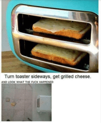 Fuck, Sideways, and Cheese: Turn toaster sideways, get grilled cheese.  AND LOOK WHAT THE FUCK HAPPENED .