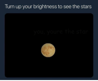 True, Turn Up, and Stars: Turn up your brightness to see the stars True