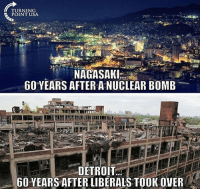 Detroit, Memes, and Word: TURNING  POINT USA  60 YEARS AFTER A NUCLEAR BOMB  DETROIT  60 YEARS AFTER LIBERALS TOOK OVER One word. Plague