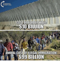 America, Memes, and Patriotic: TURNING  POINT USA  COST OF BORDER WALL  S1O BILLION  ANNUAL COST OFILLEGALIMMIGRATION  SOURCE FAIR NET COST OFILLEGAL TMMIGR Repost from @being.patriotic Build the wall, Make America Safe Again! patriots americanpatriots politics conservative libertarian patriotic republican usa america americaproud peace nowar wethepeople patriot republican freedom secondamendment MAGA PresidentTrump