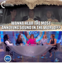 Memes, The View, and World: TURNING  POINT USA  WANNA HEAR THE MOST  ANNOYING SOUND IN THE WORLDp9  IEW  20  THE  VIEW Wanna Hear The Most Annoying Sound In The World?? 😂😂😂