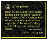 """Memes, Rude, and Avenue: @Turnip2020  Dear Trump Supporters: When  Donald said he could """"stand in  the middle of Fifth Avenue and  shoot somebody and not lose  any voters, he wasn't calling  you loyal. He was calling you  stupid  FB/Rude and Rotten Republicans  5:47 PM 27 Aug 2018 25 Hilarious Midterm Election Memes: http://bit.ly/2EMRHoK"""