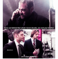 Love, Memes, and Free: Turns out behind that whole moron facade, you and your brother  @winchestrs  Mare in fact MORONS [12.13] I forgot to put brackets around the bottom quote but whatevs😂 Crowley is so sassy and I love him 😂 and Dean and Sam look offended 😂 . QOTD: what month were you born in? . . Aotd: october . . . New ep tonight! And next week is the last of s12): as usual, ill be on showgo commenting during the ep so if you want to join the app is free and the download link is in my bio! My username is the same as this one 💕💕 . . . . . . supernatural spn spnfamily cw jensenackles jaredpadalecki mishacollins deanwinchester samwinchester castiel cas akf season12 crowley marksheppard